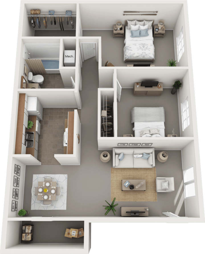 The Cambridge Floor Plan, Regency Club Apartments, Evansville, IN