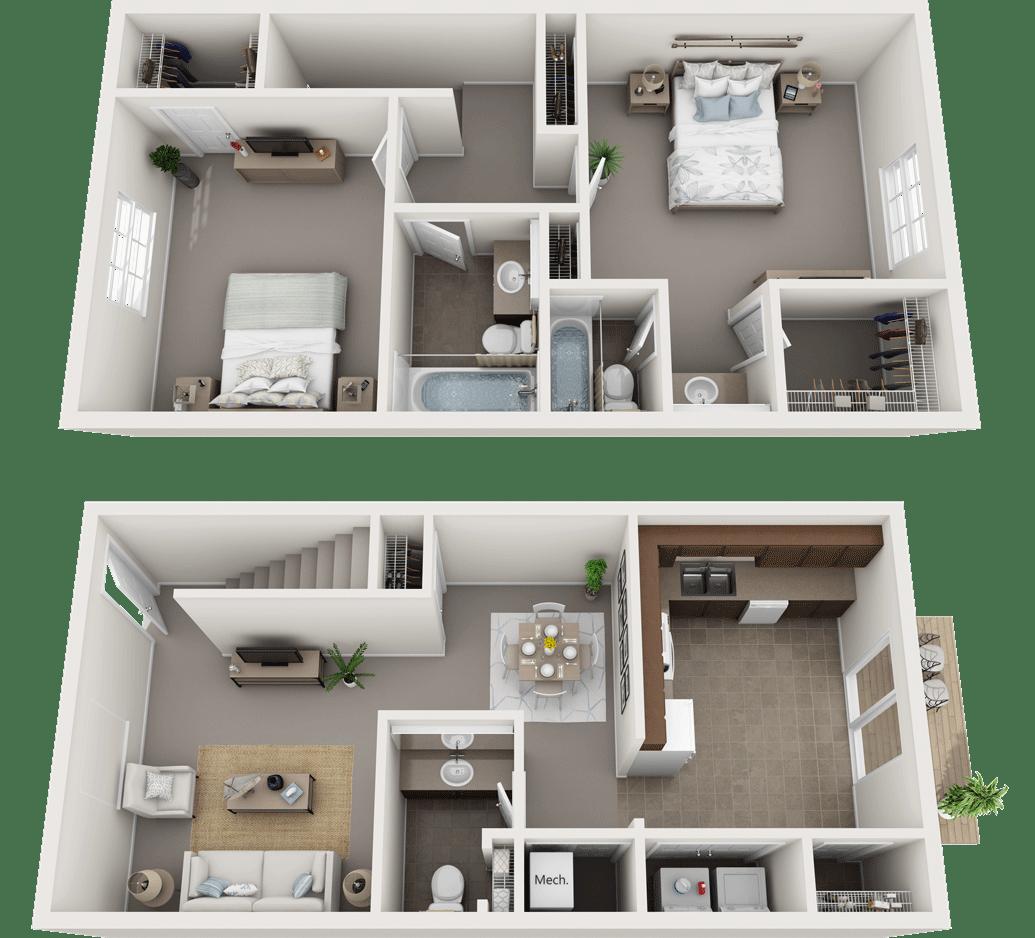 The Kingston Floor Plan, Regency Club Apartments, Evansville, IN