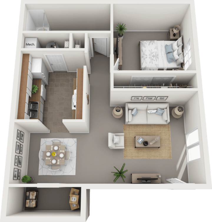 The Oxford Floor Plan, Regency Club Apartments, Evansville, IN